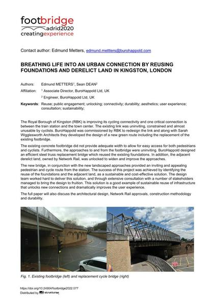 Breathing Life into an Urban Connection by Reusing Foundations and Derelict Land in Kingston, London