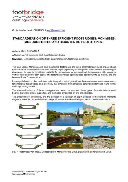 Standardization of Three Efficient Footbridges: Von Mises, Monocontentio and Bicontentio Prototypes.