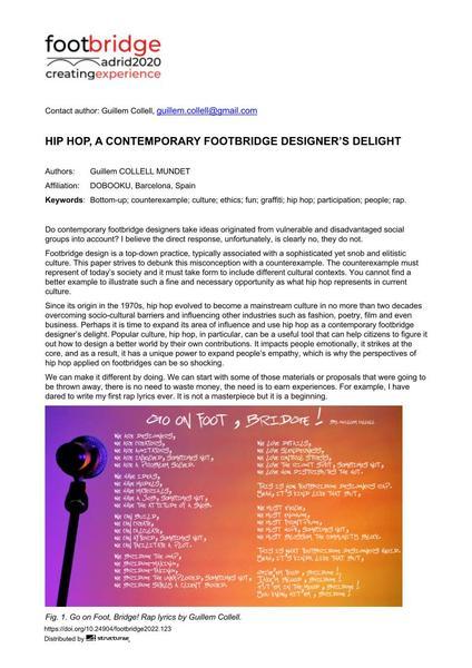 Hip Hop, a Contemporary Footbridge Designer's Delight