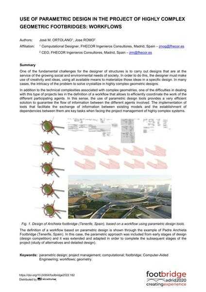 Use of Parametric Design in the Project of Highly Complex Geometric Footbridges: Workflows