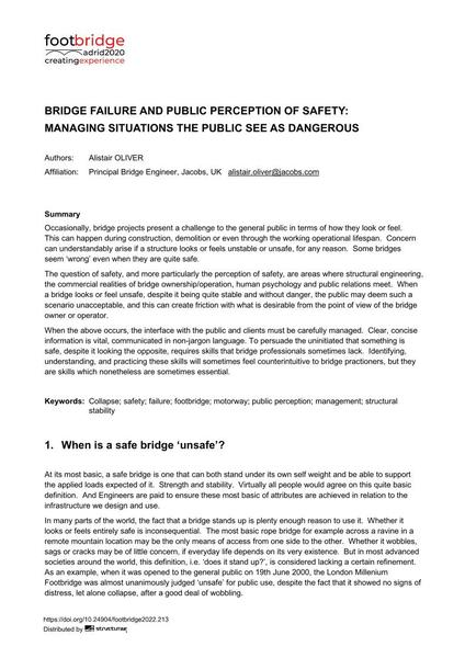 Bridge Failure and Public Perception of Safety: Managing Situations the Public See as Dangerous