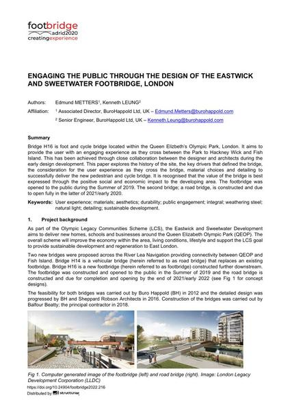 Engaging the Public Through the Design of the Eastwick and Sweetwater Footbridge, London