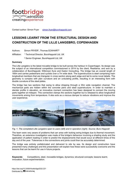 Lessons Learnt from the Structural Design and Construction of the Lille Langebro, Copenhagen