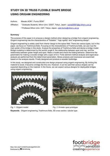 Study on 3D Truss Flexible Shape Bridge Using Origami Engineering