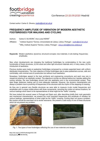 Frequency-amplitude of Vibration of Modern Aesthetic Footbridges for Walking and Cycling