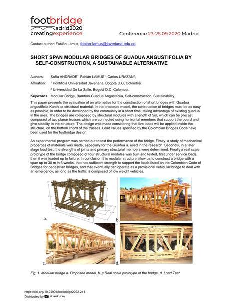 Short Span Modular Bridges of Guadua Angustifolia by Self-Construction, a Sustainable Alternative