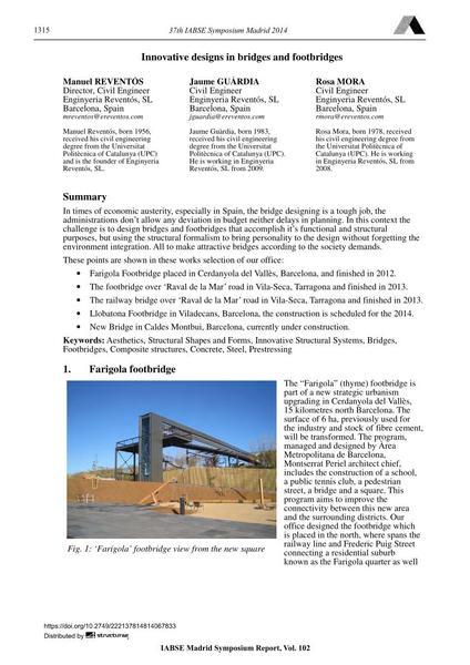 Innovative designs in bridges and footbridges