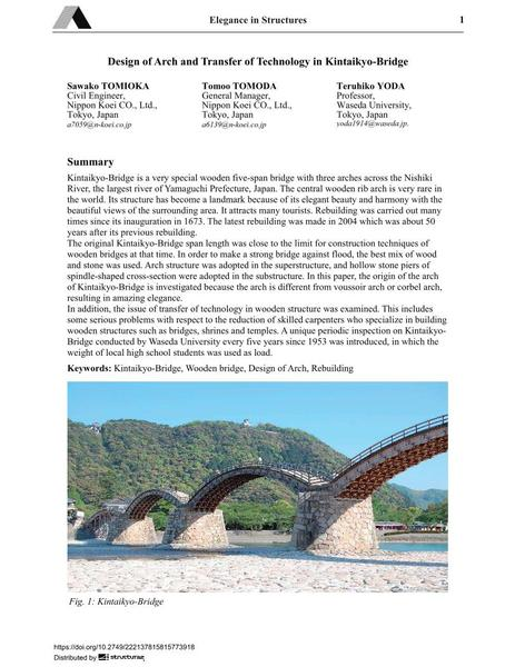 Design of Arch and Transfer of Technology in Kintaikyo-Bridge
