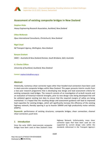 Assessment of existing composite bridges in New Zealand