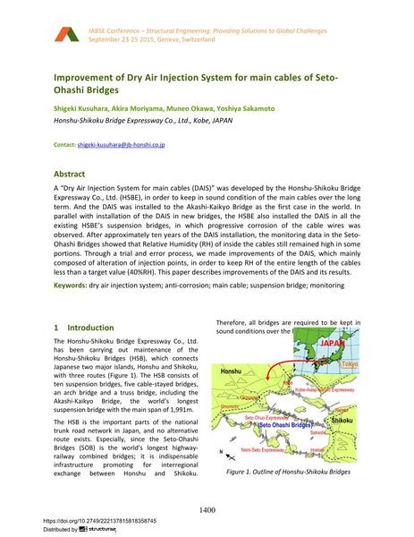 Improvement of Dry Air Injection System for main cables of Seto- Ohashi Bridges