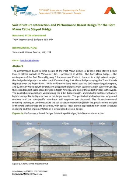 Soil Structure Interaction and Performance Based Design for the Port Mann Cable Stayed Bridge