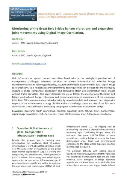 Monitoring of the Great Belt Bridge hanger vibrations and expansion  joint movements using Digital Image Correlation