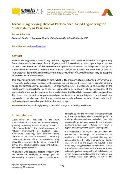 Forensic Engineering: Risks of Performance-Based Engineering for Sustainability or Resilience
