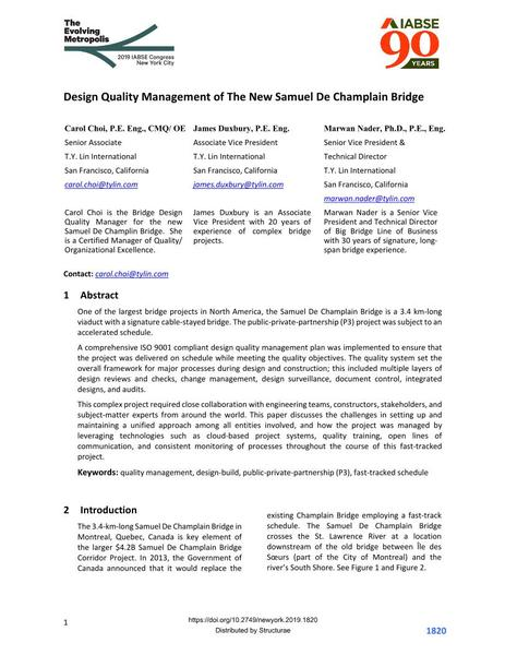 Design Quality Management of The New Samuel De Champlain Bridge