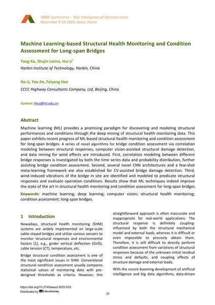 Machine Learning-based Structural Health Monitoring and Condition Assessment for Long-span Bridges