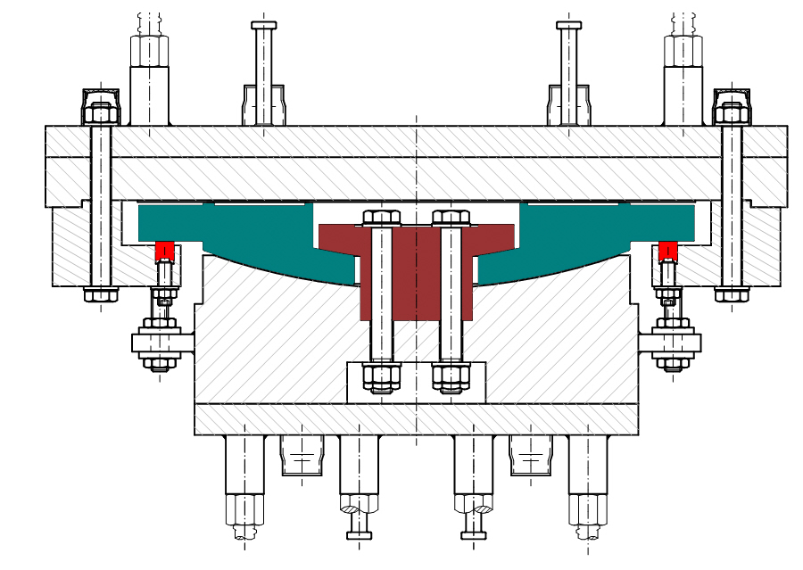 Cross section of an MSM® Spherical Bearing with tension core, a so-called uplift bearing.
