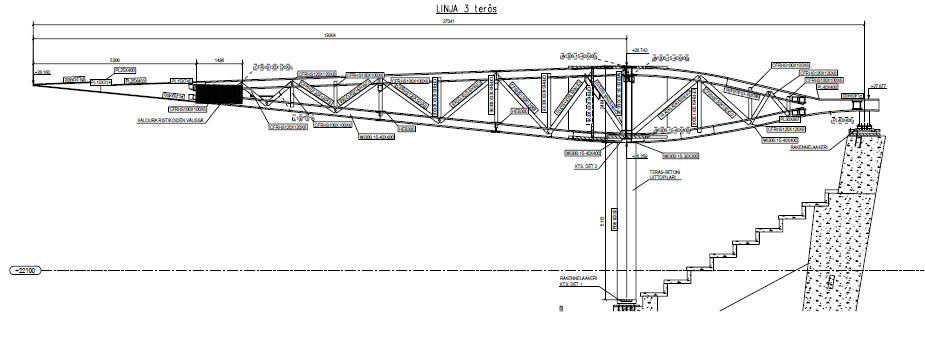 Media File No. 335588 The graphic shows a main pillar with the described cantilever for load transfer from the roof. The cantilever is flexibly supported externally through downholders with uplift spherical bearings.