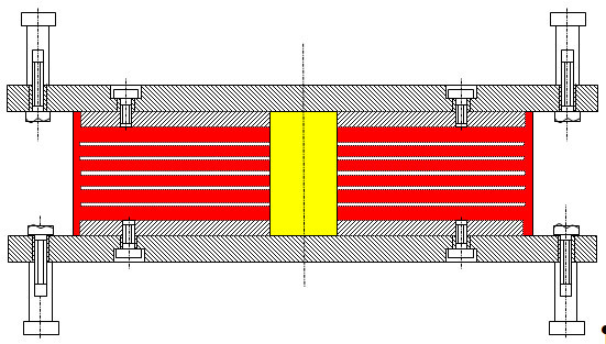 Schnitt durch ein Bleikernlager: Gelb der vertikale Bleikern, rot die horizontalen Naturkautschukscheiben, die schichtweise auf Stahlbleche (weiß) aufvulkanisiert sind.