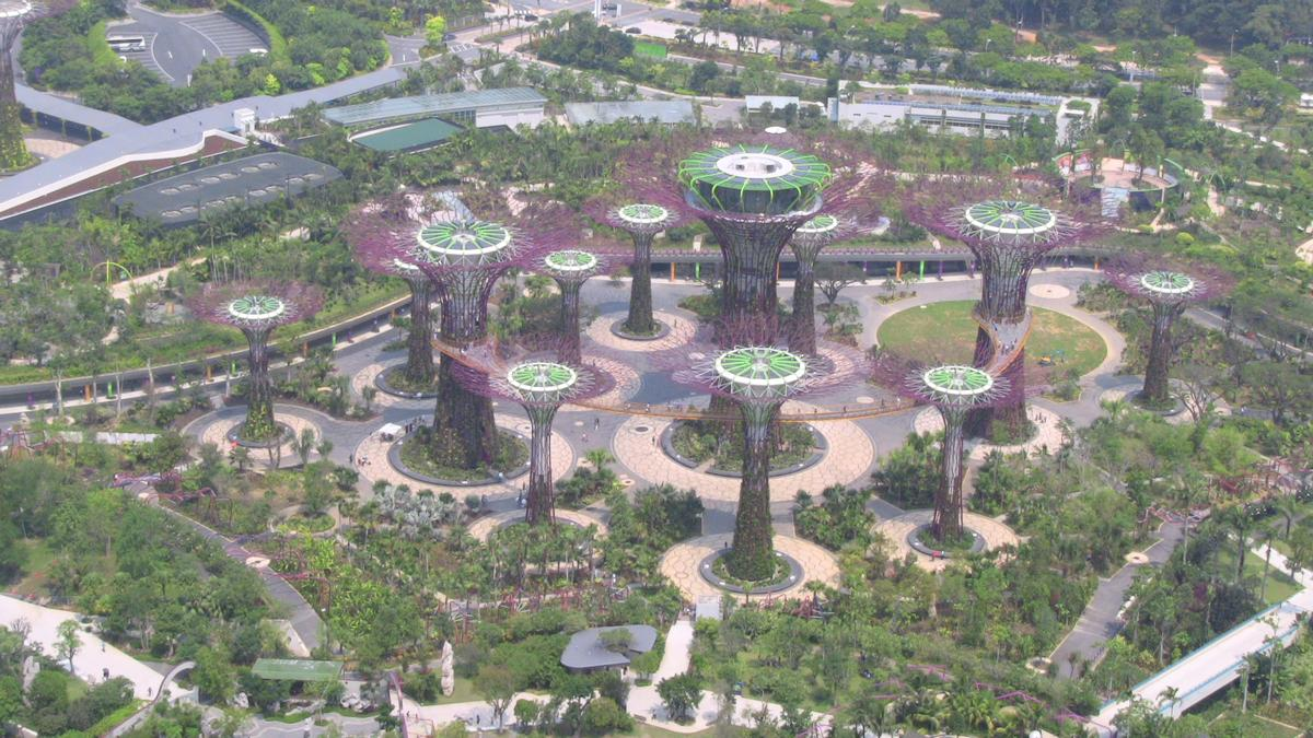 The Gardens under construction at Marina Bay, Singapore