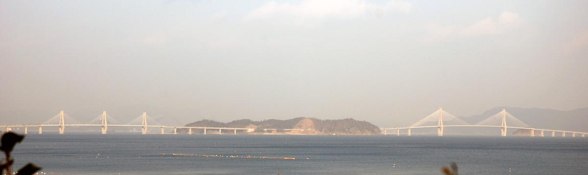 The two major bridges of the Busan-Geoje Fixed Link (also called Geoga Bridge)