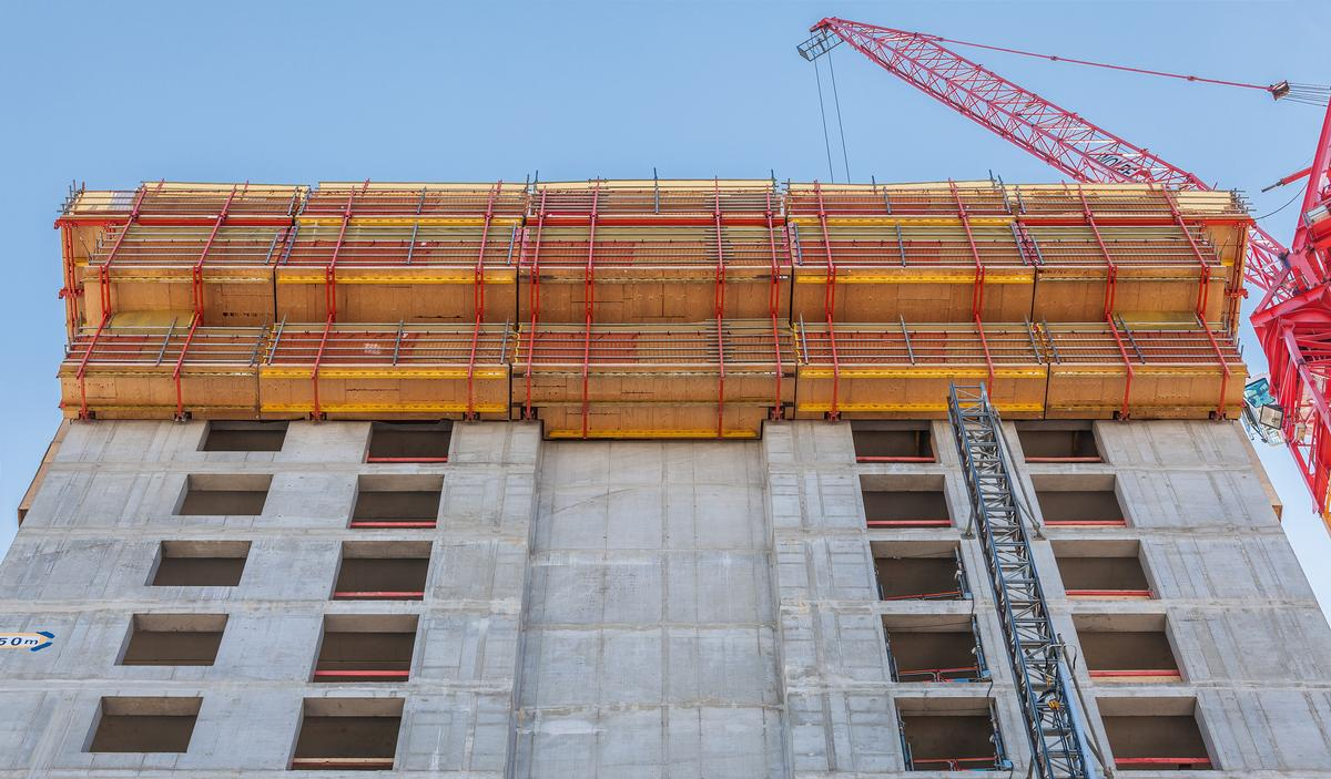 RCS and TRIO formed rail-guided climbing formwork units for the re-created north side of the former grain storage silo. RCS and TRIO formed rail-guided climbing formwork units for the re-created north side of the former grain storage silo.