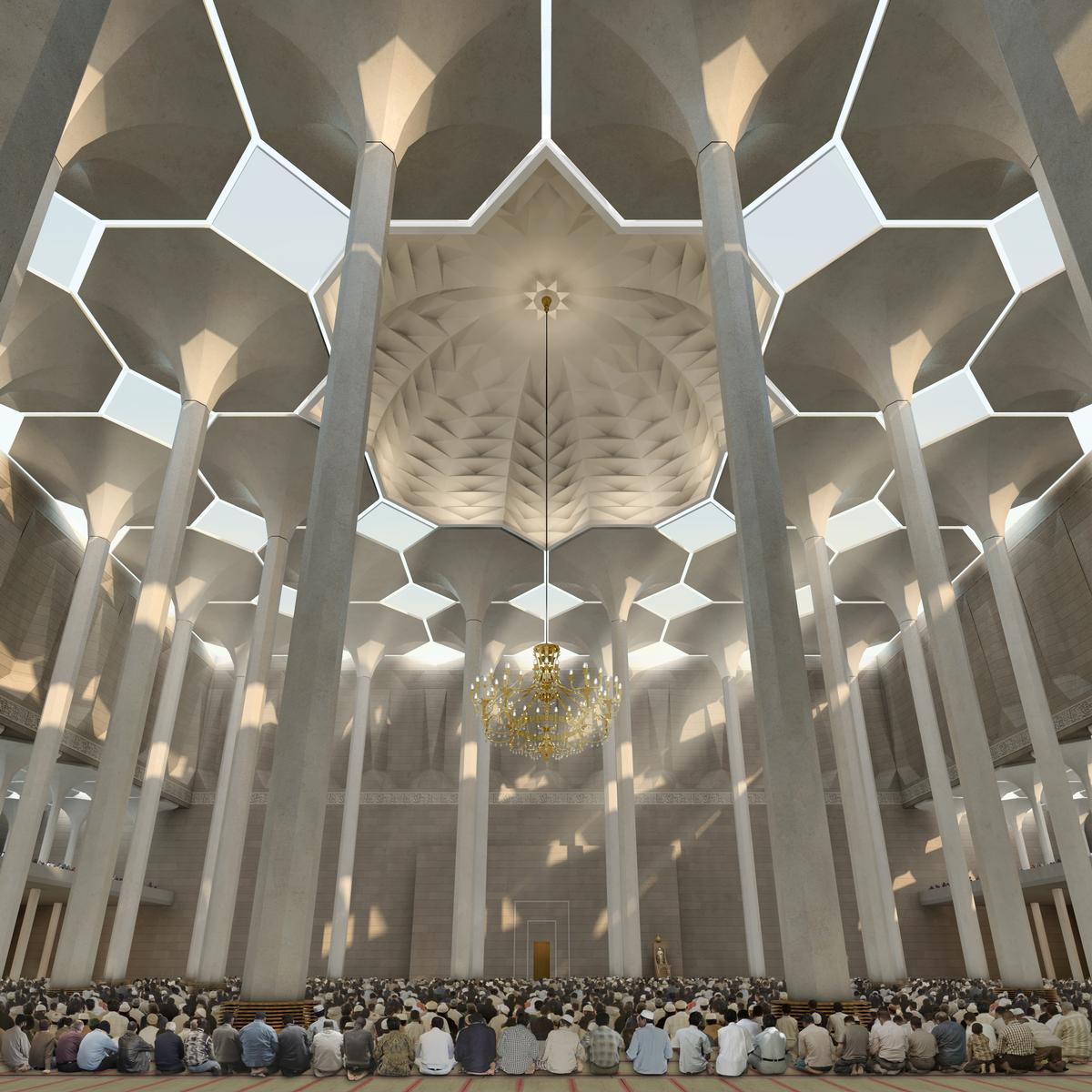 Durch die Kuppel einfallendes Sonnenlicht verleiht dem Gebetssaal des gigantischen Gotteshauses seine mediative Raumatmosphäre