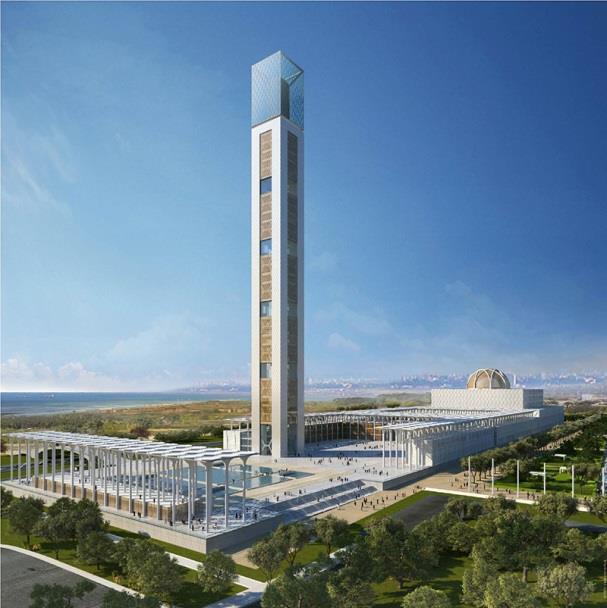 In Algier entsteht derzeit die drittgrößte Moschee der Welt. Der moderne Gebäudekomplex Djamaa el Djazair mit einem 265 Meter hohen Minarett übertrifft in seinen räumlichen Dimensionen sogar den Petersdom