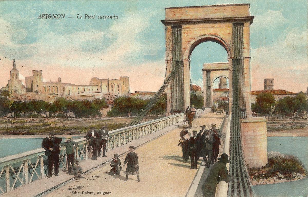 Pont suspendu d'Avignon achevé en 1843 par Jules Seguin