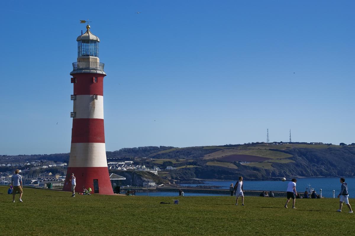 Smeaton's Tower on Plymouth Hoe in Devon, UK.