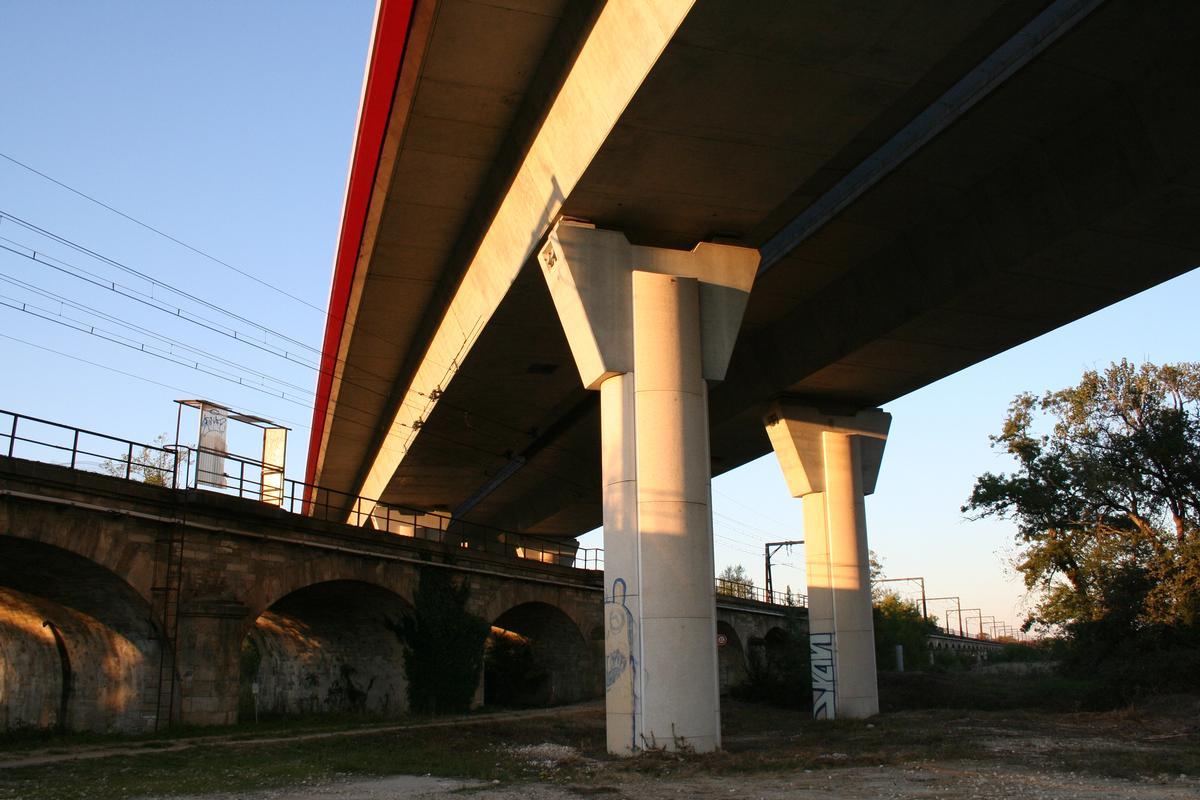Viaduc des Barrails croisant le viaduc de la Palu d'Arveyres Arveyres - Gironde - Aquitaine - France