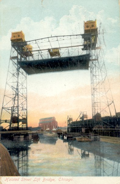 Halsted Street Lift Bridge, Chicago.Quelle: Postkarte aus der Privatsammlung von Edy Pockelé.