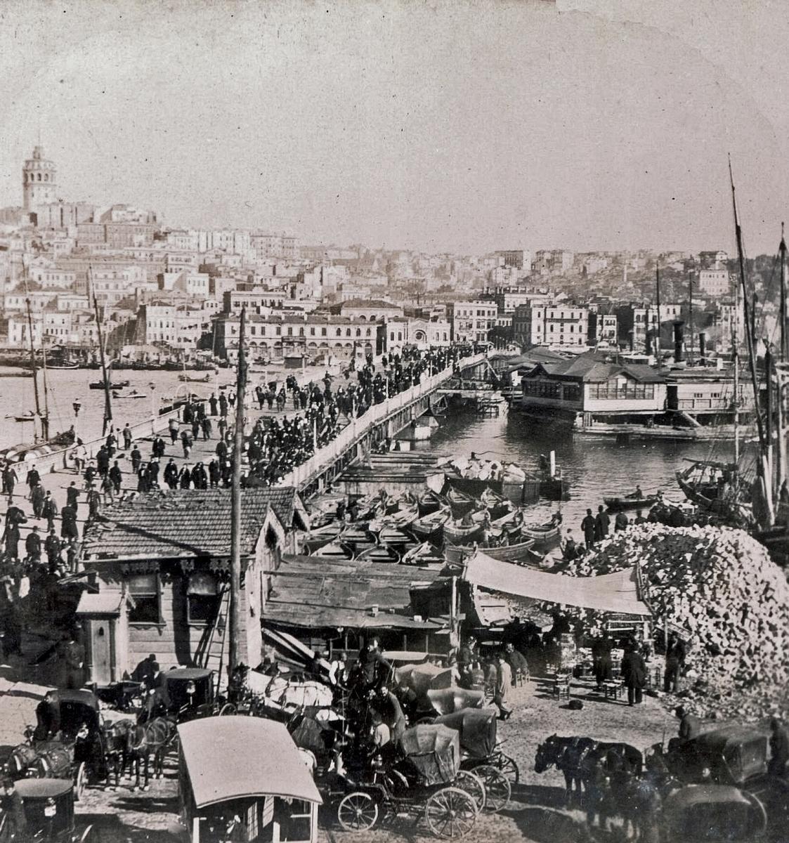 Pont de Galata.Vue stéréoscopique, 1899.Collection particulière d'Edmond Bonan