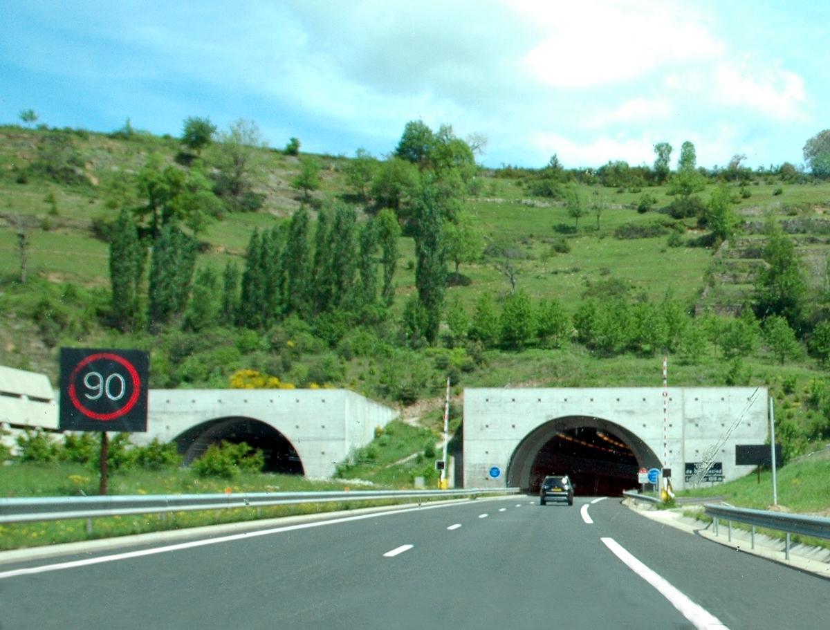 Commune de LA CANOURGUE (48500, Lozère) – Autoroute A 75, tunnel de Montjézieu, tête d'ouvrage sud.