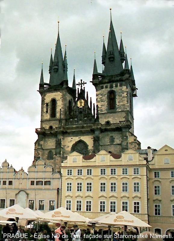 Fiche média no. 51120 PRAGUE – Eglise Notre-Dame de Tyn (Panna Marie pred Týnem), imposante construction gothique édifiée du 14e au 17e siècle, l'intérieur, en restauration, est de style baroque