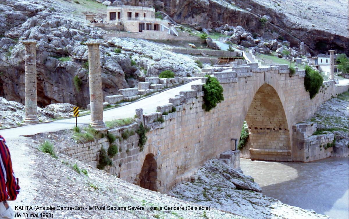 Septimus Severus Bridge crossing the Kahta River in Turkey.