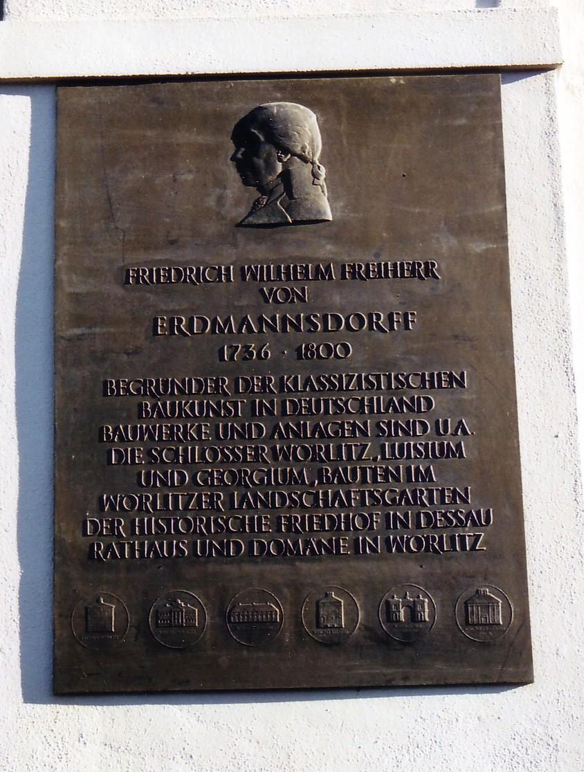 Memorial plaque in honor of Friedrich Wilhelm Erdmannsdorff