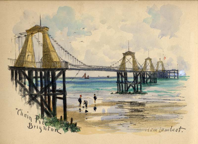 Brighton Chain PierWatercolour by Clem Lambert