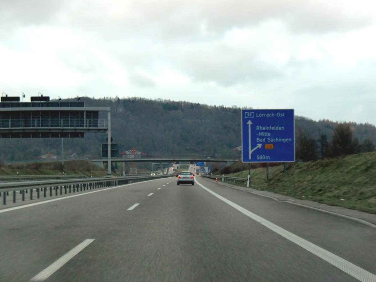 A861 motorway at Rheinfelden-Mitte Exit