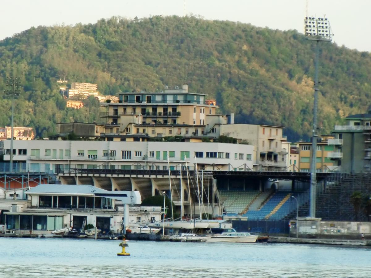 Stadio Sinigaglia from Como Lake