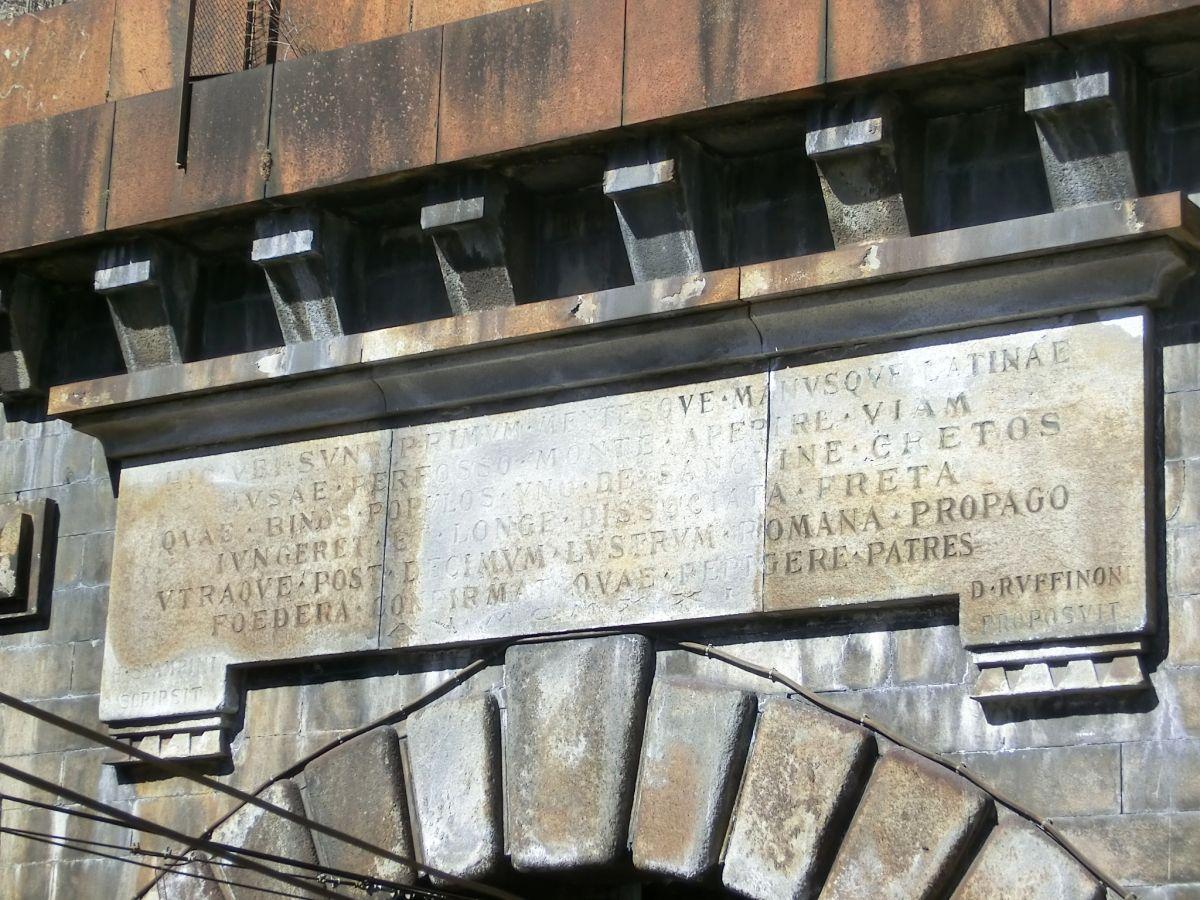 Frejus railway Tunnel, inscription engraved above italian portal