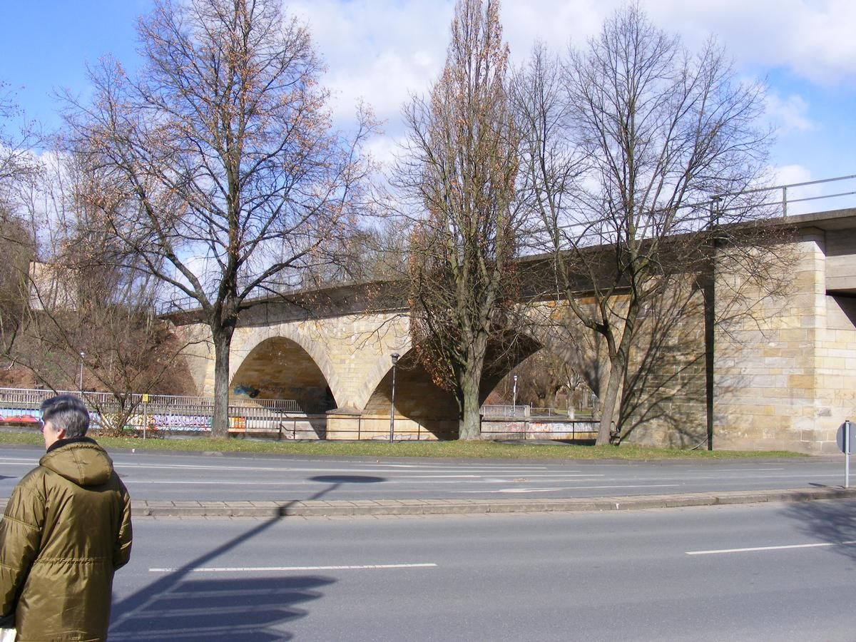 Bayreuth Railroad Bridge spans the Roter Main River and carries the Dresden-Nürnberg and the Lichtenfels-Franken Railway lines.