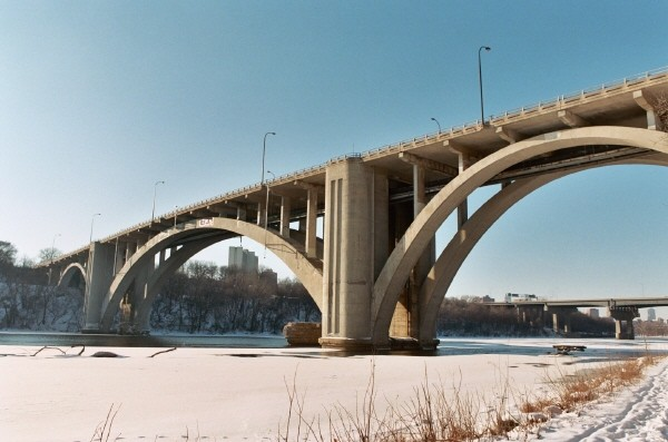 Views of the Cappelen Memorial Bridge, that carries Franklin Avenue accross the Mississippi just south of the University of Minnesota campus.