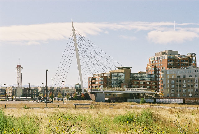 Views of the Denver Millenium Footbridge.
