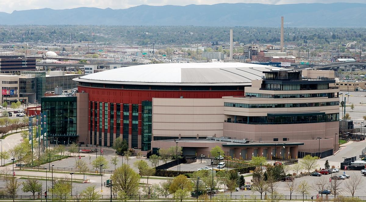 Pepsi Center - Distant view from the northeast.