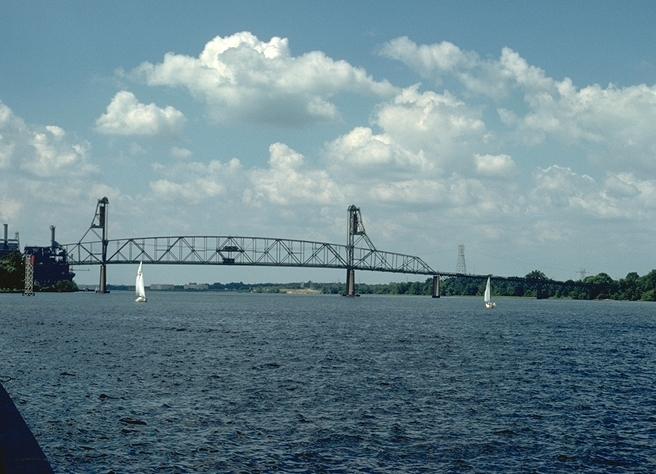 Burlington-Bristol Bridge, from the bank of the Delaware River, in Burlington, NJ.