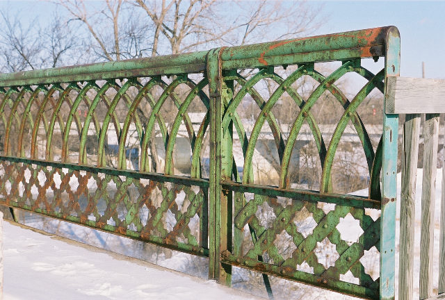 Views of the Old Shakopee Bridge. Closeup of a section of the railing