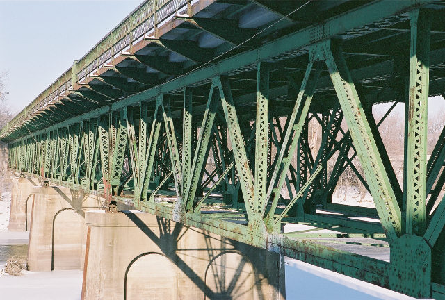 Views of the Old Shakopee Bridge. This bridge is now only open to pedestrians and bicycles