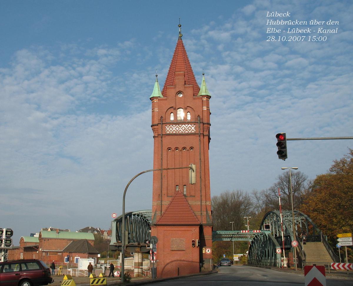 Lift bridges across the Elbe Lübeck Canal's beginning in Lübeck