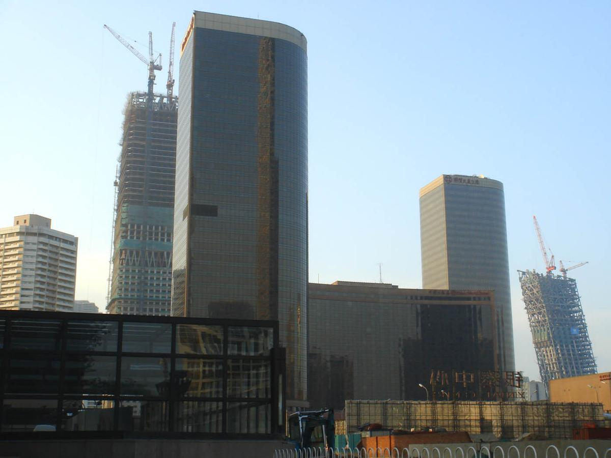 China World Trade Center 1 & 2, no. 3 under construction in the back left, CCTV under construction to the right