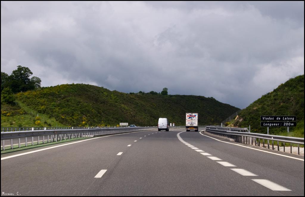 Vue sur le viaduc dans le sens Clermont > Bordeaux
